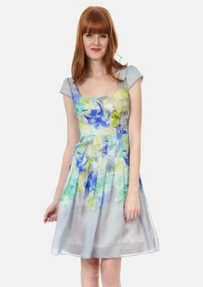 Kay Unger Print Silk Organza Fit & Flare Dress