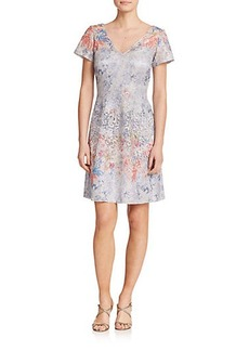 Kay Unger Printed Lace Dress