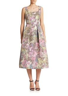 Kay Unger Printed Tea-Length Dress