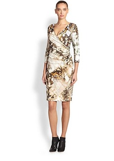 Kay Unger Ruched Abstract-Print Dress