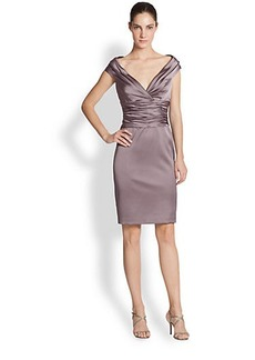 Kay Unger Satin Ruched-Waist Cocktail Dress