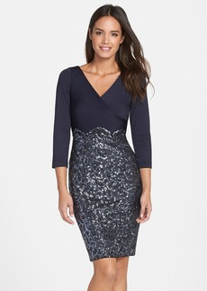 Kay Unger Sequin Jersey Sheath Dress