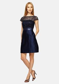 Kay Unger Sequin Lace Bodice A-Line Dress