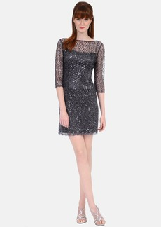 Kay Unger Sequin Lace Sheath Dress