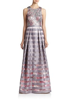 Kay Unger Sequin-Top Striped Floral Gown