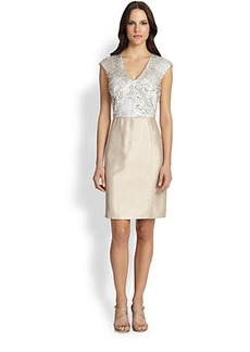 Kay Unger Sequined-Bodice Dress