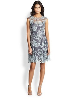 Kay Unger Sequined Embroidered-Lace Dress