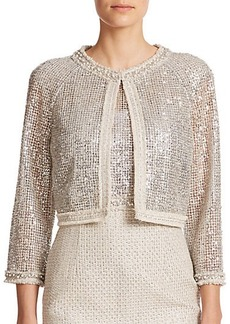 Kay Unger Sequined Lace & Tweed Cropped Jacket