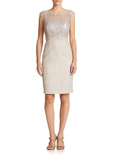 Kay Unger Sequined Lace & Tweed Dress