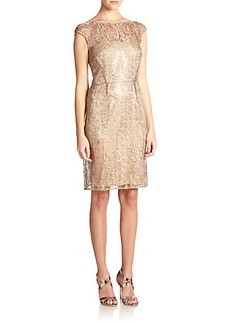 Kay Unger Sequined Lace Cap-Sleeve Sheath Dress