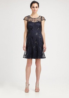 Kay Unger Sequined Mesh Dress