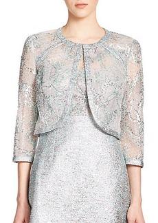 Kay Unger Sequined Tweed Bolero Jacket