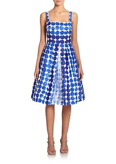 Kay Unger Shantung Dotted Dress