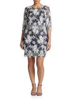 Kay Unger, Sizes 14-24 Beaded Lace Shift Dress