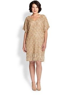 Kay Unger, Sizes 14-24 Beaded Ostrich-Feather Dress