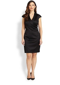 Kay Unger, Sizes 14-24 Beaded-Shoulder Satin Dress
