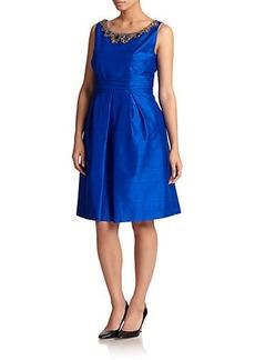 Kay Unger, Sizes 14-24 Embellished Silk Dupioni A-Line Dress