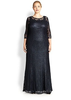 Kay Unger, Sizes 14-24 Embroidered Lace Gown