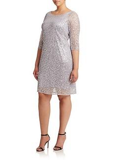 Kay Unger, Plus Size Floral Lace Shift Dress