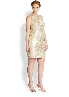 Kay Unger, Sizes 14-24 Gold Shimmer Dress