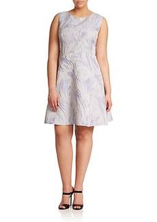 Kay Unger, Plus Size Jacquard Brushstroke Fit-&-Flare Dress