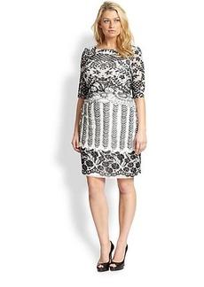Kay Unger, Sizes 14-24 Lace-Print Mesh Dress