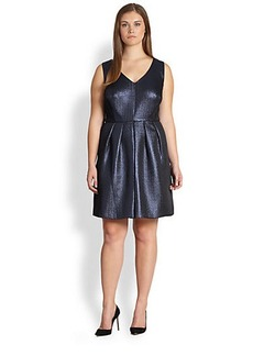 Kay Unger, Sizes 14-24 Metallic Jacquard Party Dress