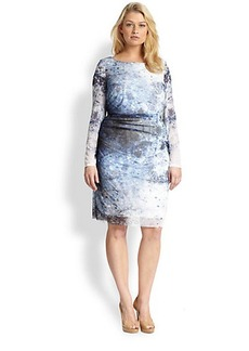 Kay Unger, Sizes 14-24 Printed Mesh Dress