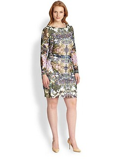 Kay Unger, Sizes 14-24 Printed Ruched Mesh Dress