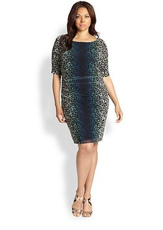Kay Unger, Sizes 14-24 Ruched Animal-Print Dress