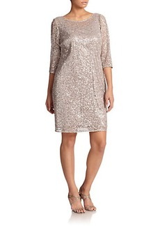Kay Unger, Sizes 14-24 Sequin Lace Sheath Dress