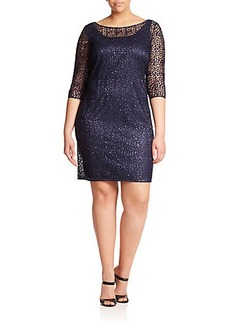Kay Unger, Sizes 14-24 Sequined Lace Dress