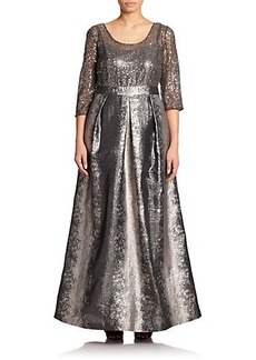 Kay Unger, Sizes 14-24 Sequined Metallic Gown