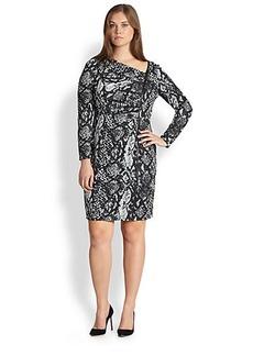 Kay Unger, Sizes 14-24 Snakeskin-Print Dress