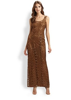 Kay Unger Sleeveless Lace Gown