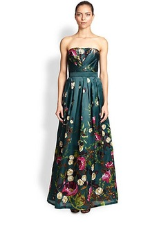 Kay Unger Strapless Floral Silk Gown