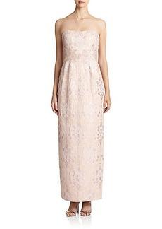 Kay Unger Strapless Jacquard Dress