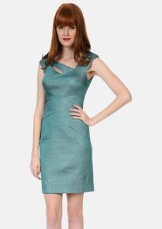 Kay Unger Stretch Metallic Sheath Dress