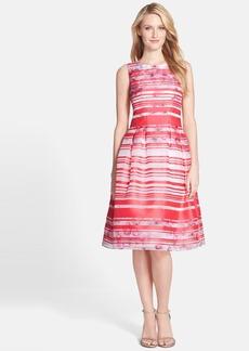 Kay Unger Stripe Floral Print Fit & Flare Dress