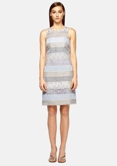 Kay Unger Stripe Mixed Media Shift Dress