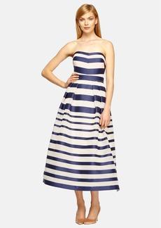 Kay Unger Stripe Silk Organza Strapless Midi Dress