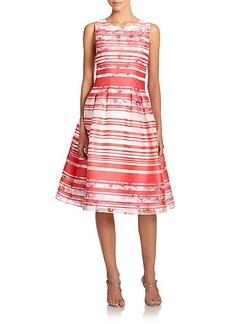 Kay Unger Striped Floral Dress