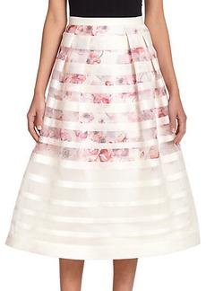 Kay Unger Striped Floral Midi Skirt