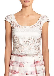 Kay Unger Striped Floral Sequin Cropped Top
