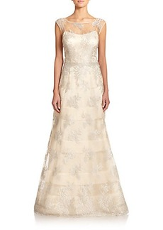 Kay Unger Striped Lace Illusion Gown