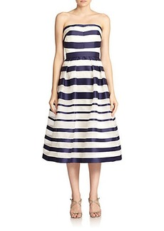 Kay Unger Striped Strapless Ball Gown