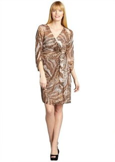 Kay Unger taupe animal printed chiffon bell sleeved wrap dress