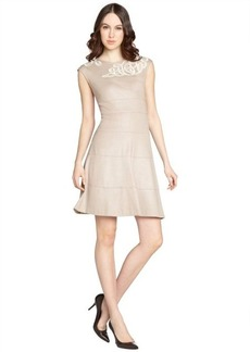 Kay Unger taupe knit and lurex trim sleeveless dress