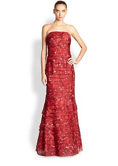 Kay Unger Tiered Printed Strapless Gown