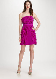 Kay Unger Tiered Silk Dress